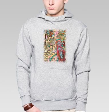 Толстовка мужская, накладной карман серый меланж, серый меланж - Интернет магазин футболок №1 в Москве