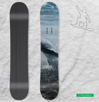 Кит в мегаполисе - Наклейки на доски - сноуборд, скейтборд, лыжи, кайтсерфинг, вэйк, серф