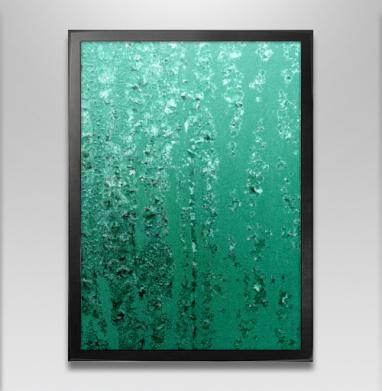 Бирюзовые кристаллы - Постер в чёрной раме
