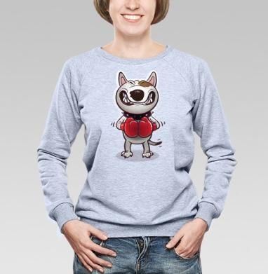 Cвитшот женский, толстовка без капюшона  серый меланж, свитшот серый меланж - Футболки на заказ в Москве