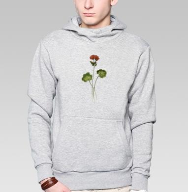 Травинка Герань, Толстовка мужская, накладной карман серый меланж