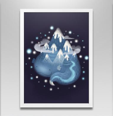 Горный дух - Постер в белой раме, горы