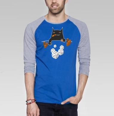 Покер на костях - Футболка мужская с длинным рукавом синий / серый меланж