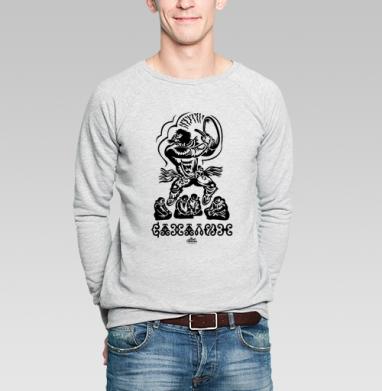 Свитшот мужской серый-меланж  320гр, стандарт - Этнический Сахалин
