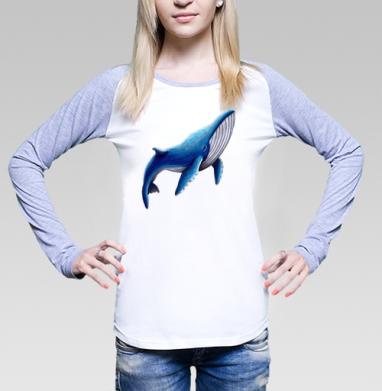 Синий кит, Футболка лонгслив женская бело-серая