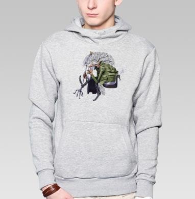 Леший, Толстовка мужская, накладной карман серый меланж