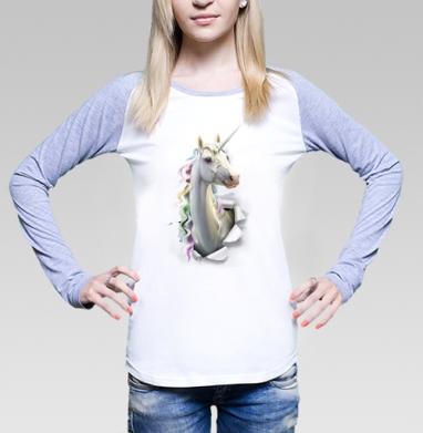 Единорог в лесу, Футболка женская с длинным рукавом бело-серая
