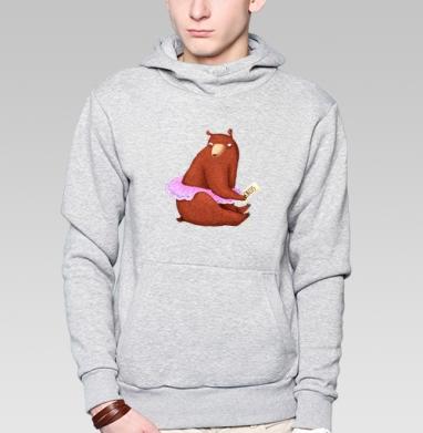 Цирковая медведица, Толстовка мужская, накладной карман серый меланж