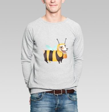 Пчелопёс, Свитшот мужской серый-меланж  320гр, стандарт