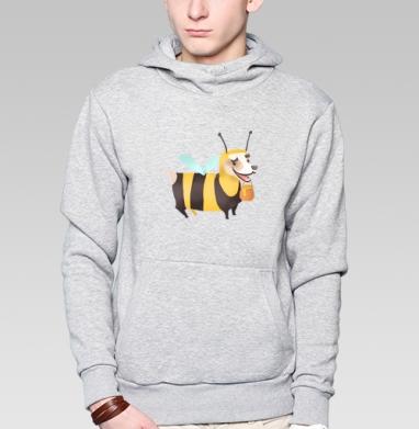 Пчелопёс, Толстовка мужская, накладной карман серый меланж
