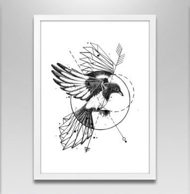 Сорока - Постер в белой раме, татуировки
