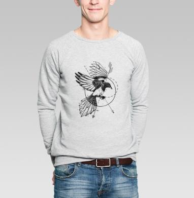 Сорока, Свитшот мужской серый-меланж  320гр, стандарт