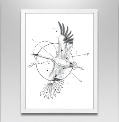 Стерх - Постер в белой раме, геометрия