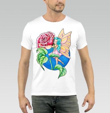 Футболка мужская белая 160гр - Волшебная роза