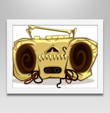 Череп магнитофона - Постер в белой раме