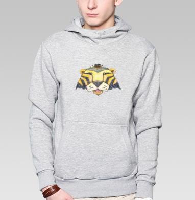 Тигр, Толстовка мужская, накладной карман серый меланж