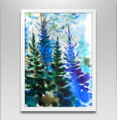 Хвойный синий лес - Постеры, деревья, Популярные