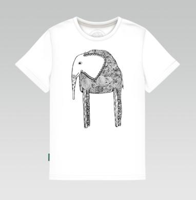 Черно-белый слон, Детская футболка белая 160гр