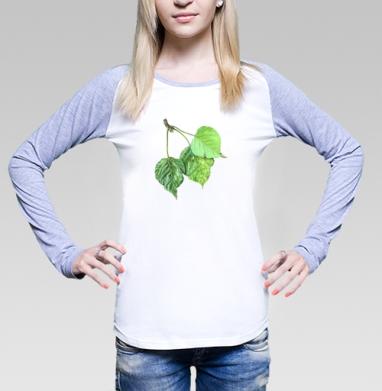 Листья тополя, Футболка женская с длинным рукавом бело-серая