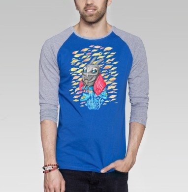 Осенний мотылек - Футболка мужская с длинным рукавом синий / серый меланж, осень, Популярные