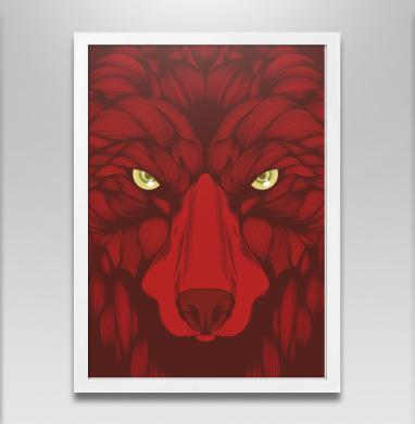 Квадратный волк - Постер в белой раме, волк