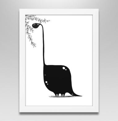 Динозавр в чб, Постер в белой раме