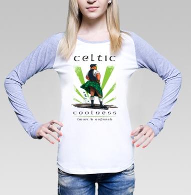 Кельтская свежесть, Футболка лонгслив женская бело-серая
