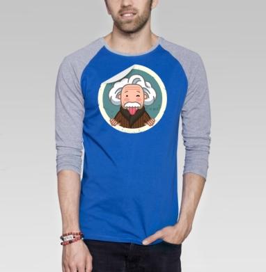 Альберт Эйнштейн - Футболка мужская с длинным рукавом синий / серый меланж, Новинки