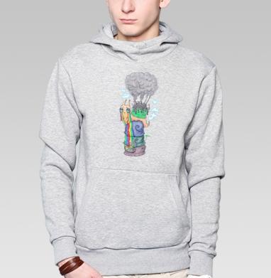 Эко-улитка - Толстовка мужская, накладной карман серый меланж