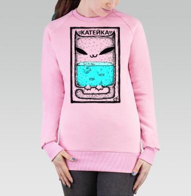 Катейка с рыбками - Cвитшот женский розовый  320гр, стандарт, Популярные