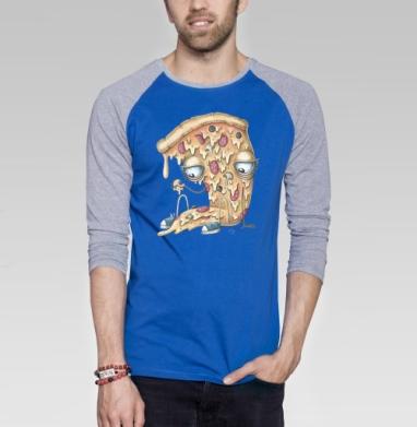 Кусочек пиццы - Футболка мужская с длинным рукавом синий / серый меланж, мороженое, Популярные