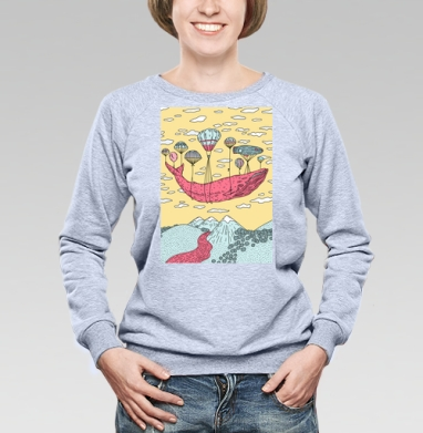Парящий кит - Купить детские свитшоты с китами в Москве, цена детских свитшотов с китом с прикольными принтами - магазин дизайнерской одежды MaryJane