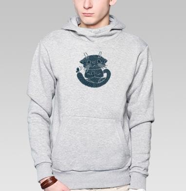 Не кипешуй - Толстовка мужская, накладной карман серый меланж
