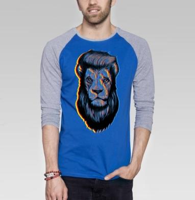Царская стрижка - Футболка мужская с длинным рукавом синий / серый меланж
