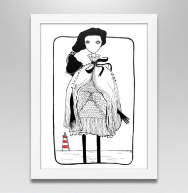 Маяк чб, Постер в белой раме