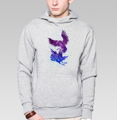 Вороны - Толстовка мужская, накладной карман серый меланж