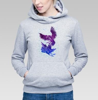 Вороны, Толстовка Женская серый меланж 340гр, теплая