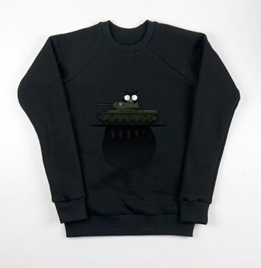 Свитшот мужской черный 340гр, теплый - Танк КВ