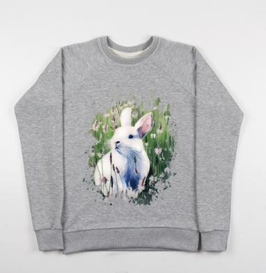 Белый зайчик на лугу - Купить детские свитшоты с волками в Москве, цена детских свитшотов с волками  с прикольными принтами - магазин дизайнерской одежды MaryJane