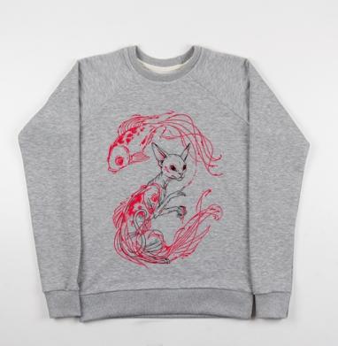 Кот и рыбки - Купить детские свитшоты с татуировками в Москве, цена детских свитшотов с татуировками с прикольными принтами - магазин дизайнерской одежды MaryJane