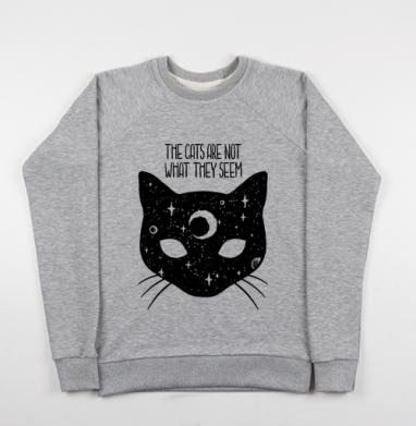 Коты не то, чем кажутся - Купить детские свитшоты с кошками в Москве, цена детских свитшотов с кошками  с прикольными принтами - магазин дизайнерской одежды MaryJane