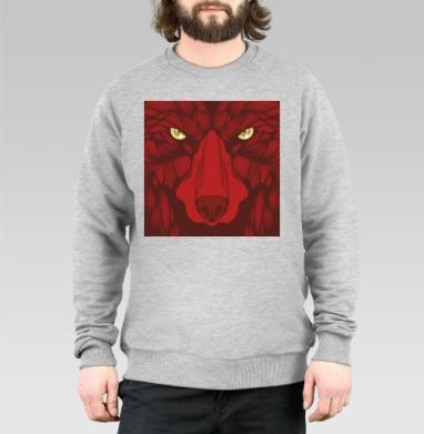 Квадратный волк - Свитшот мужской серый-меланж 340гр, теплый, Популярные