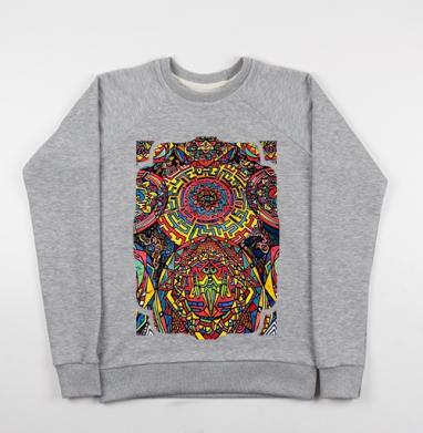 Психоделические мультики - Cвитшот женский серый-меланж 340гр, теплый, психоделика, Популярные