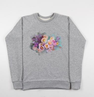 Розовые цветы на бирюзовом фоне - Купить детские свитшоты с живописью в Москве, цена детских свитшотов с живописью  с прикольными принтами - магазин дизайнерской одежды MaryJane