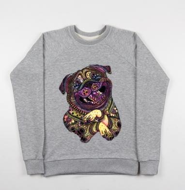 Счастливый мопс - Купить детские свитшоты с природой в Москве, цена детских свитшотов с природой  с прикольными принтами - магазин дизайнерской одежды MaryJane