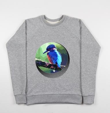 Свитшот мужской серый-меланж 240гр, тонкий - Тропическая птица на ветке
