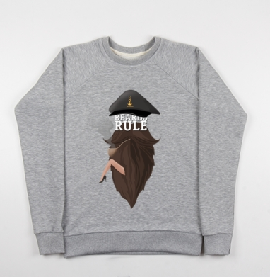 Beard rule - Cвитшот женский серый-меланж 340гр, теплый, мужские, Популярные