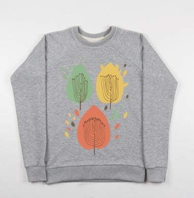 Floral pattern with leaves - Купить детские свитшоты с деревьями в Москве, цена детских свитшотов с деревьями  с прикольными принтами - магазин дизайнерской одежды MaryJane