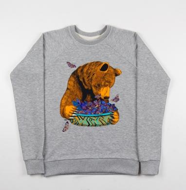 Гризли и бабочки - Купить детские свитшоты с животными в Москве, цена детских свитшотов с животными  с прикольными принтами - магазин дизайнерской одежды MaryJane