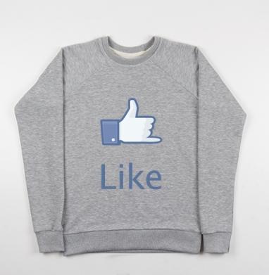 Cвитшот женский серый-меланж 340гр, теплый - LIKE